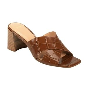 MARC FISHER Brown Leather Stacked Heel Sandals